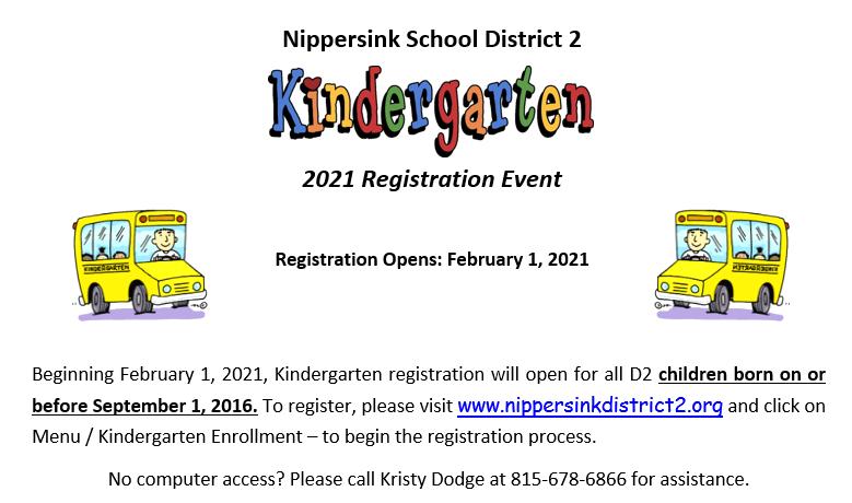 Nippersink School District 2 Kindergarten 2021 Registration Event