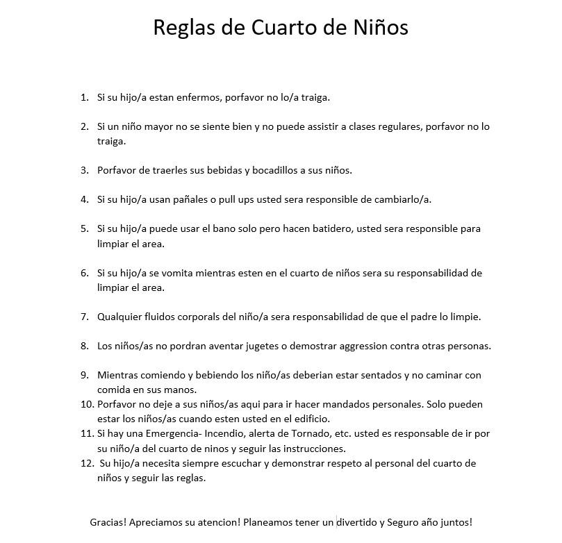 Reglas de Cuarto de Niños