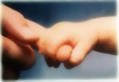 A photo of a baby's hand holding onto an adult's hand