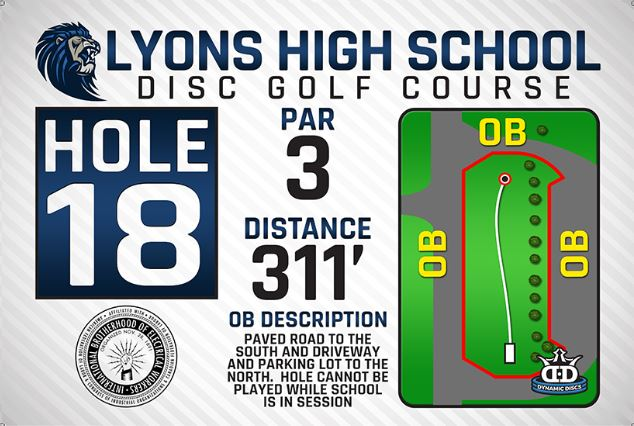Lyons High School DISC Golf Course Hole 18