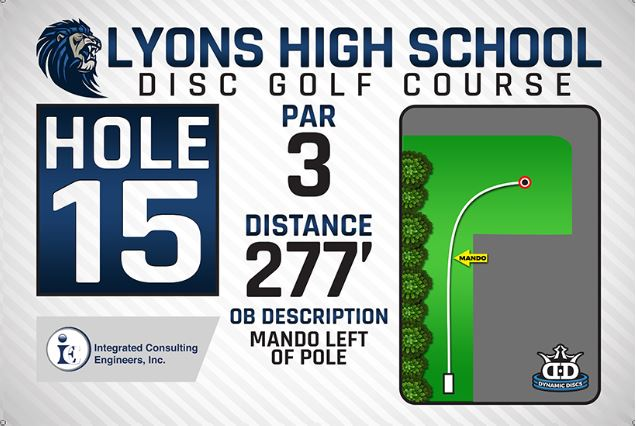 Lyons High School DISC Golf Course Hole 15