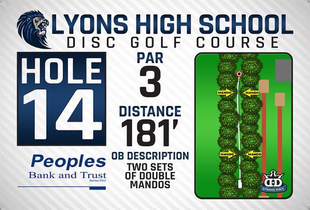 Lyons High School DISC Golf Course Hole 14