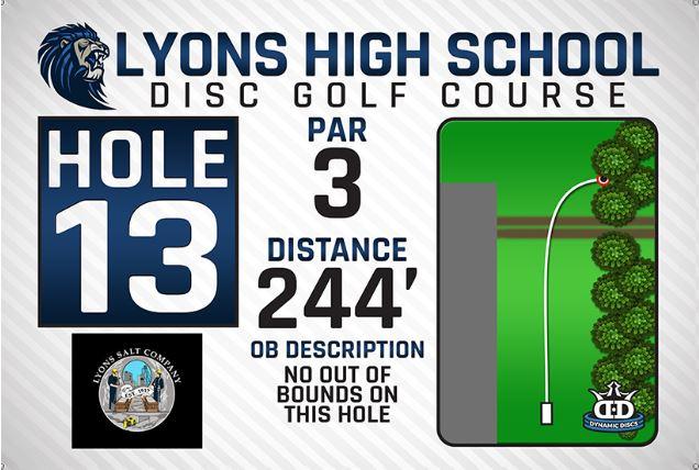 Lyons High School DISC Golf Course Hole 13