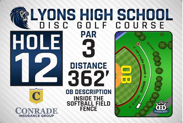 Lyons High School DISC Golf Course Hole 12