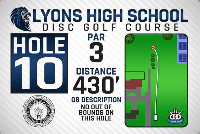 Lyons High School DISC Golf Course Hole 10