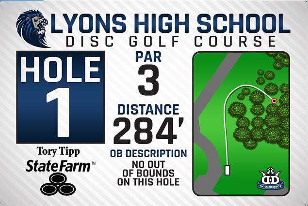Lyons High School DISC Golf Course Hole 1