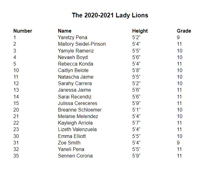 The 2020-2021 Lady Lions