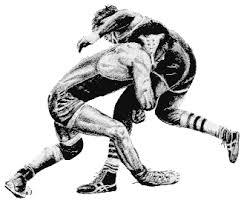 A drawing of two people wrestling