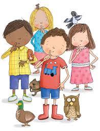 A drawing of school kids