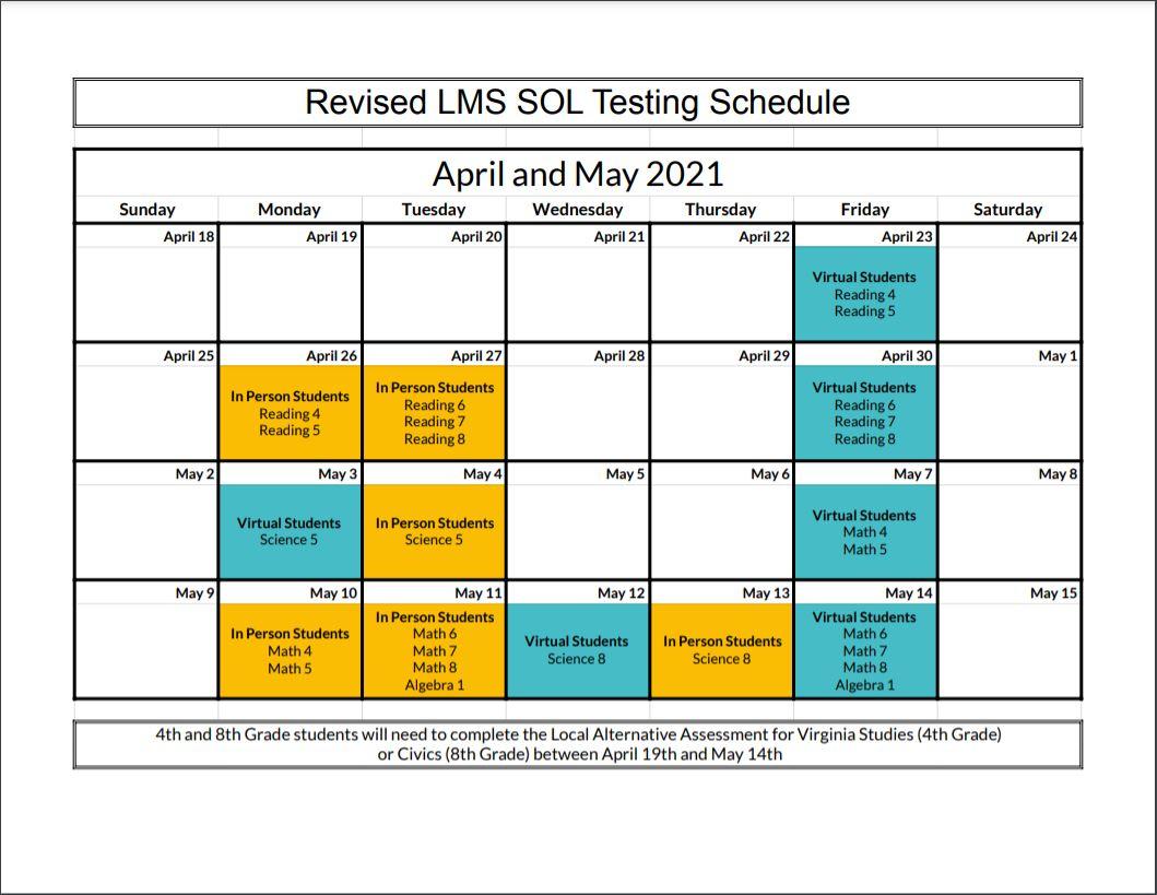 Spring SOL Testing Schedule 2020-2021