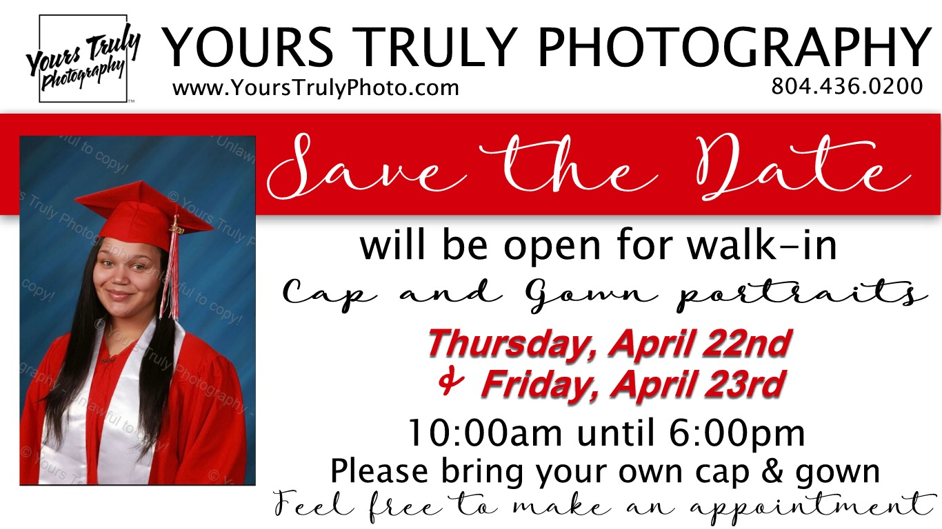 Cap and Gown Picture announcement