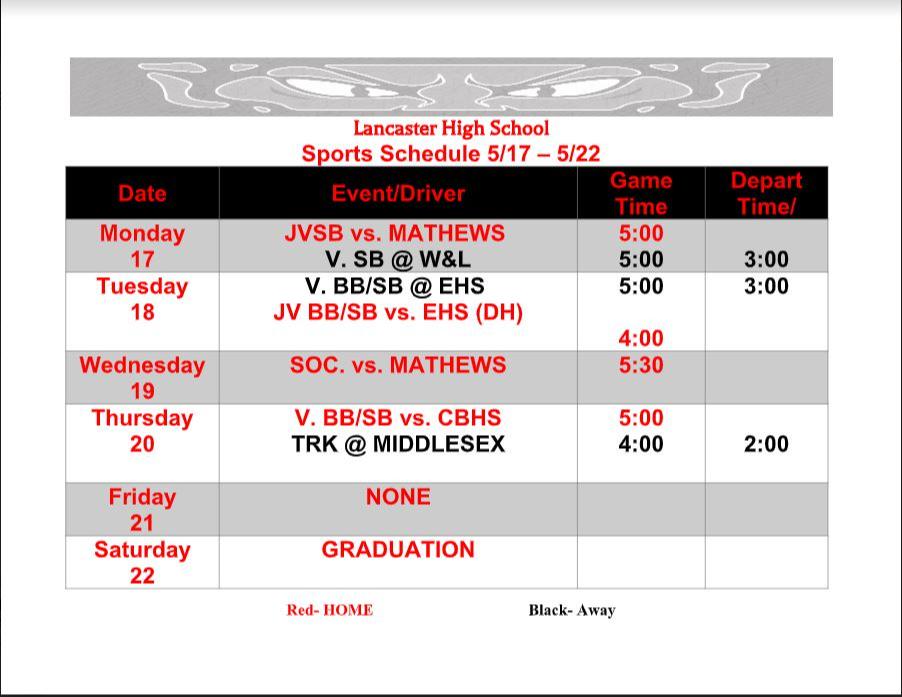 LHS Sports Schedule 5.17.21