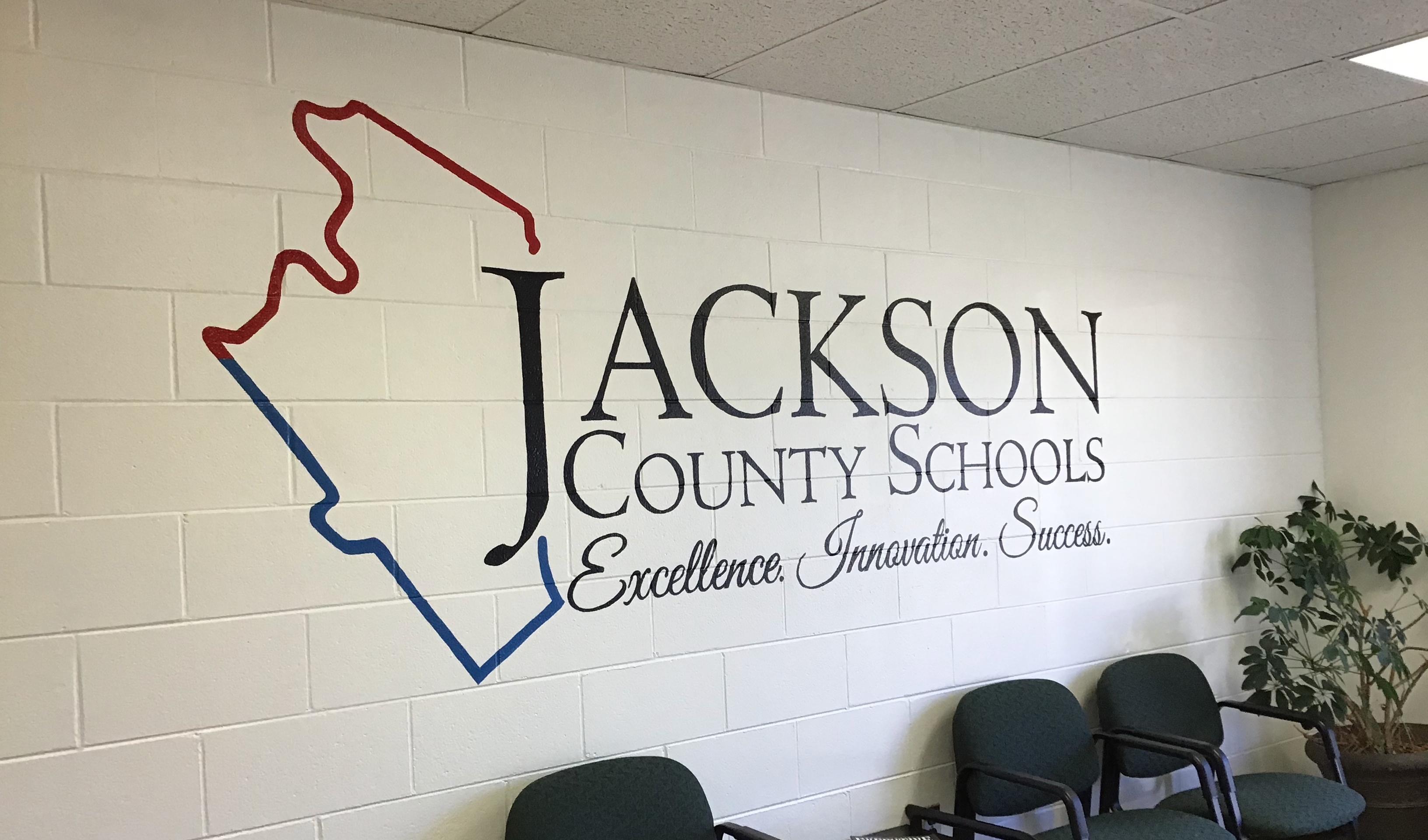 Jackson County Schools Logo on the wall