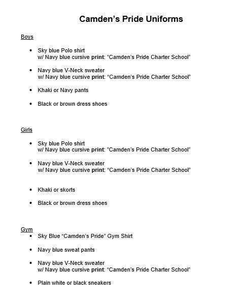 CAMDEN'S PRIDE CHARTER SCHOOL