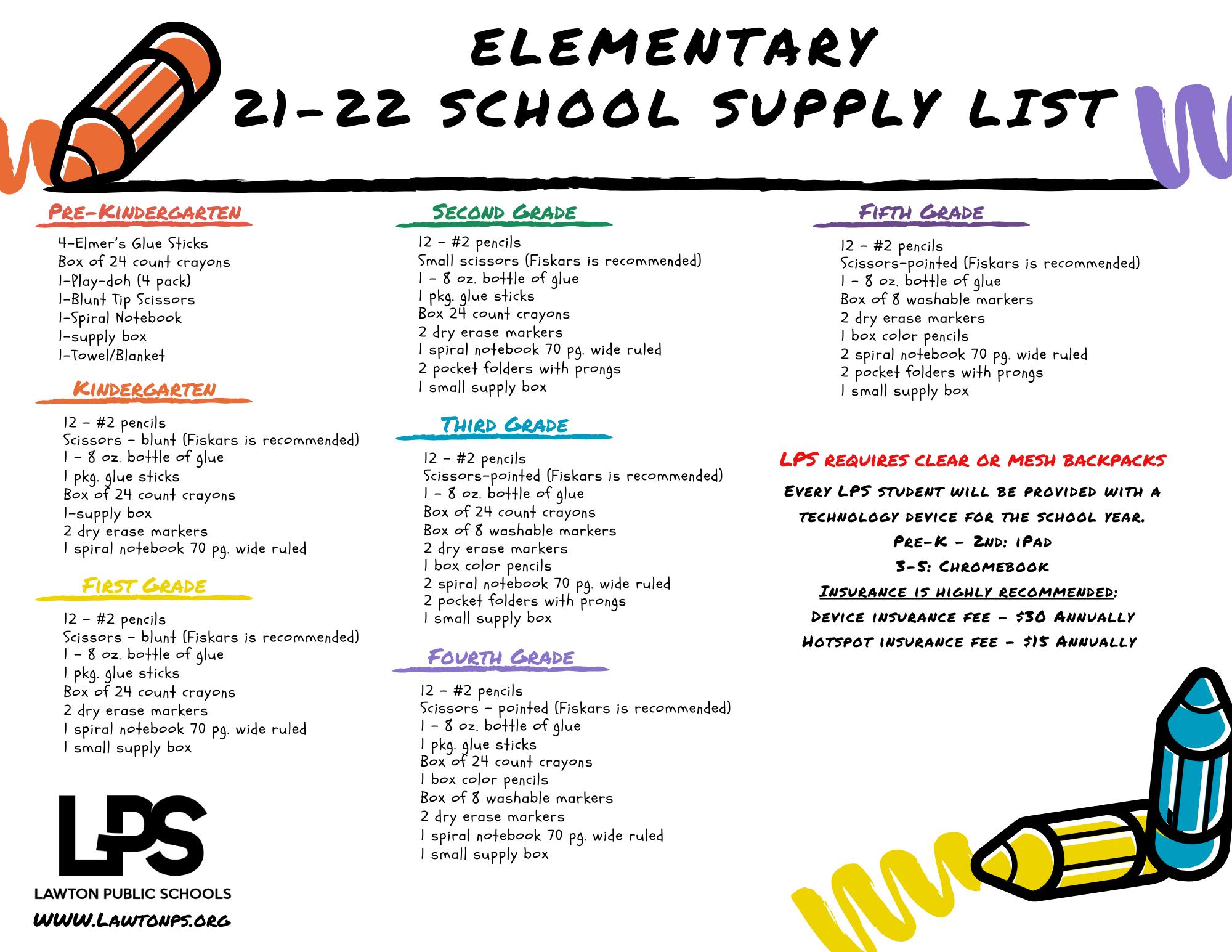 Elementary School Supply Lists