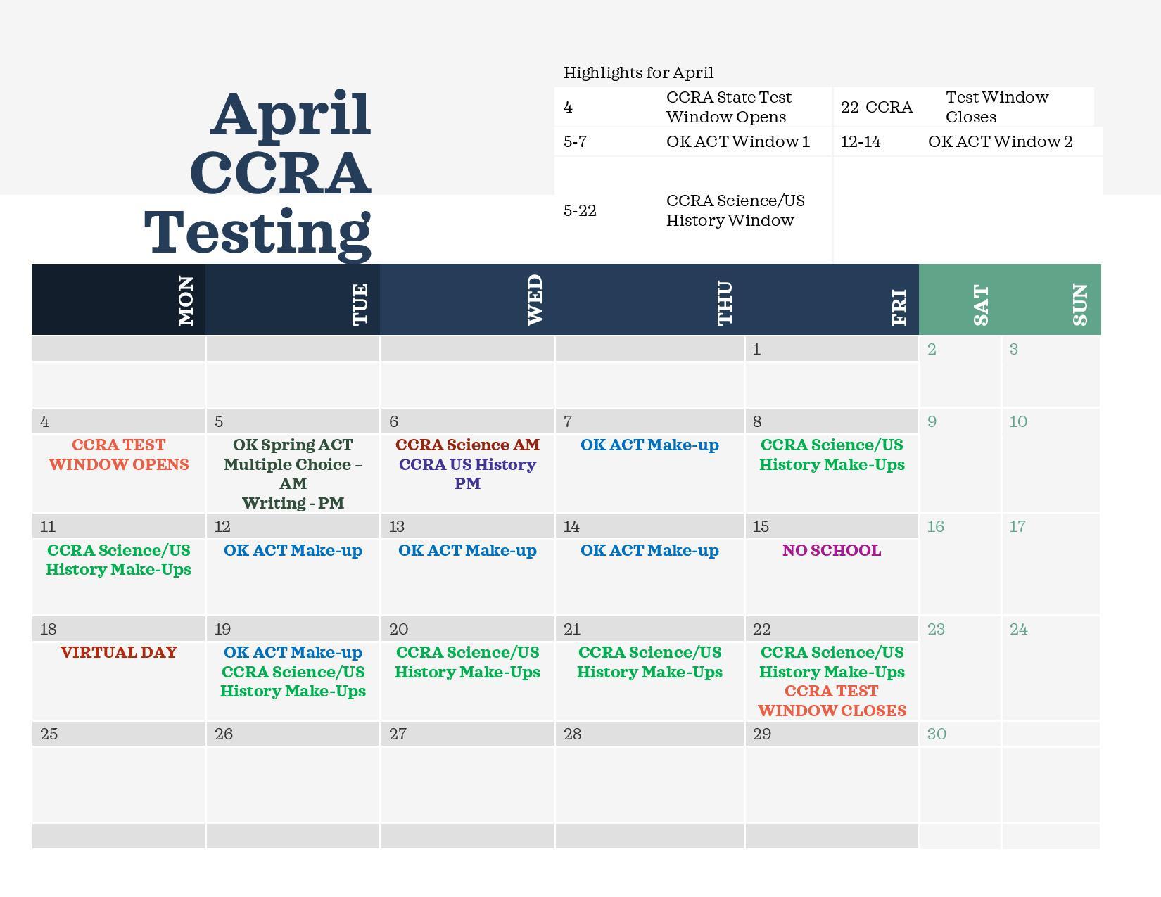 High School CCRA Testing April