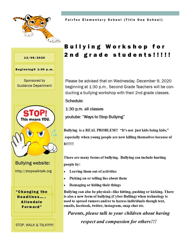 Bullying Workshop for 2nd Grade Students