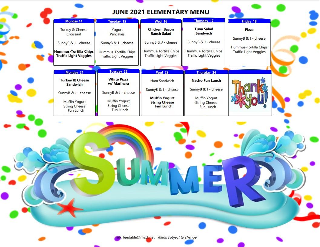 June 2021 - Elementary Menu