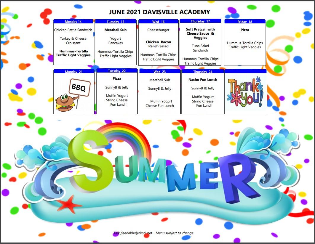 Davisville Academy Menu