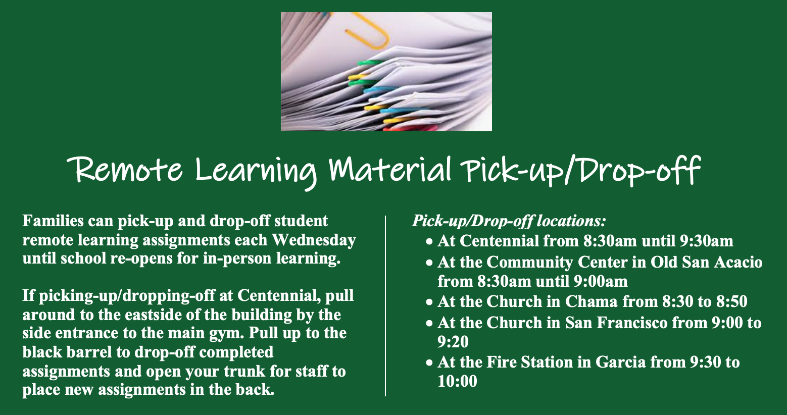 Remote learning material pick-up/drop off