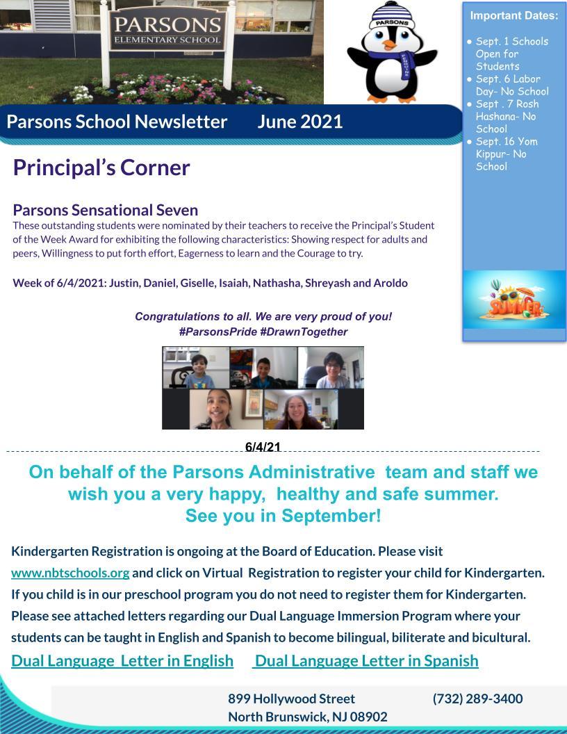 Parsons June Newsletter