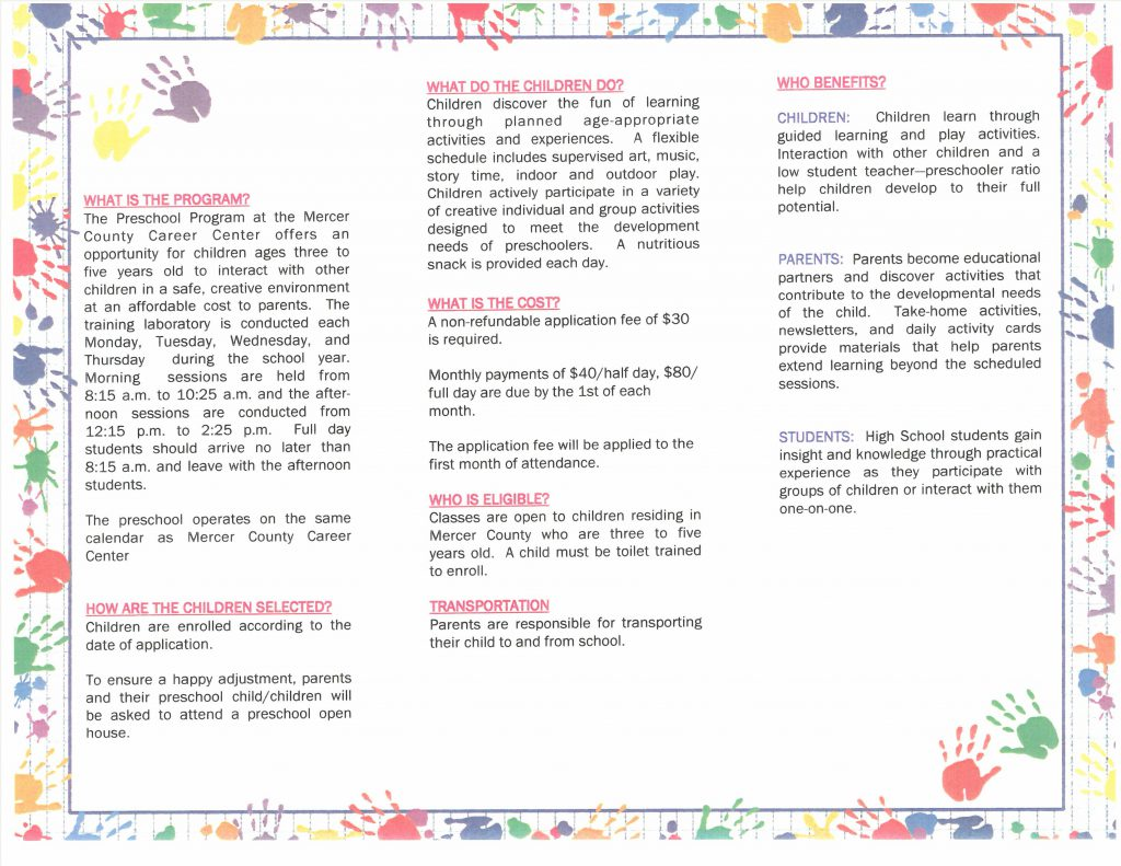Preschool Program Brochure Back part