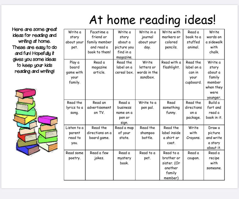 At Home Reading Ideas!