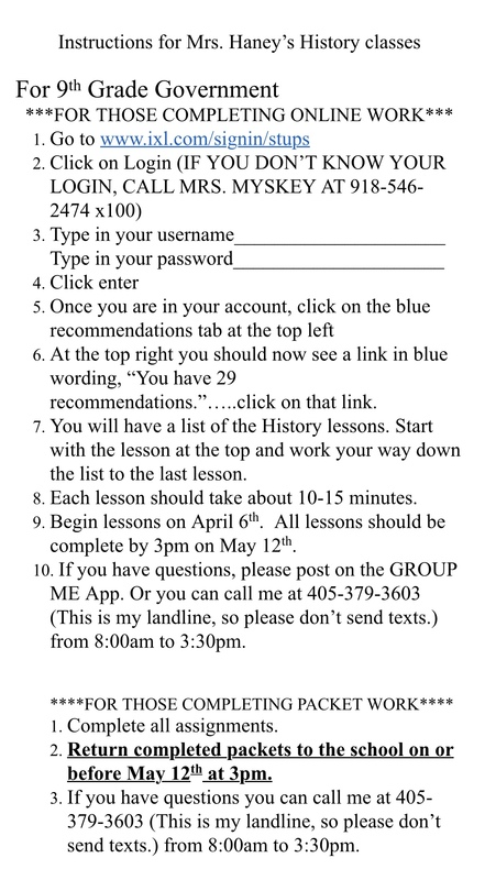 instructions for mes harney's history classes