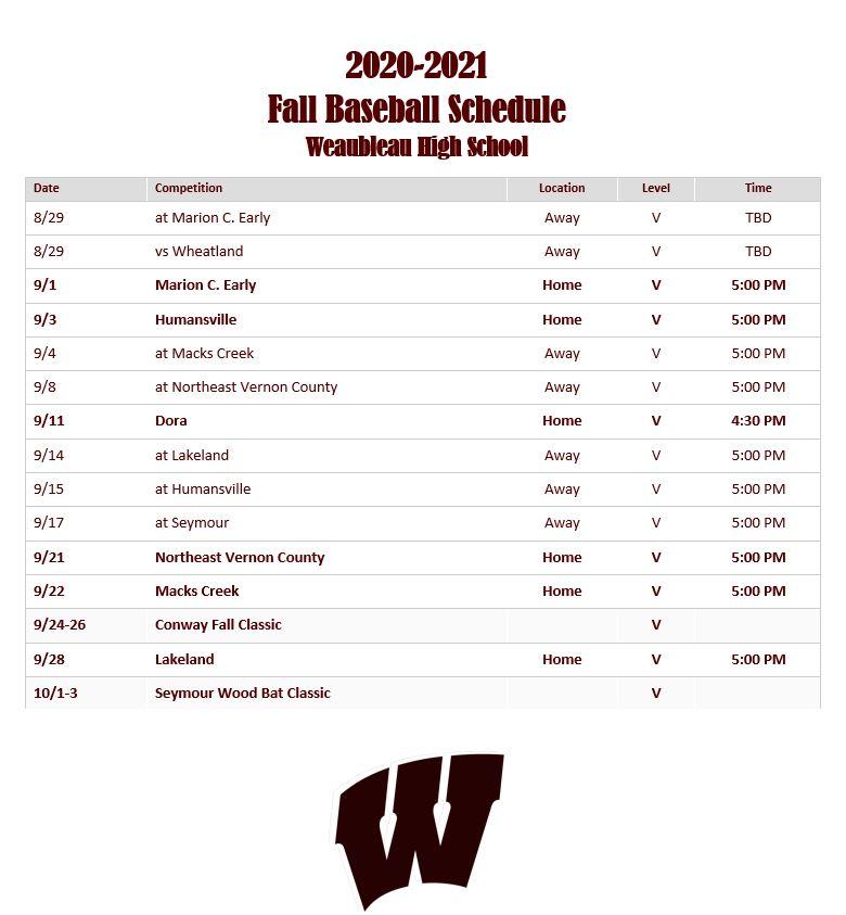 Fall Baseball Schedule