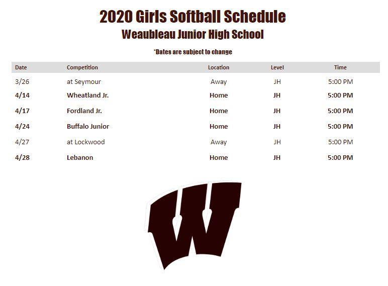 2020 Girls Softball Schedule