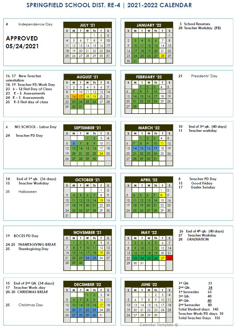 2021 - 2022 Adopted Springfield RE-4 Calendar