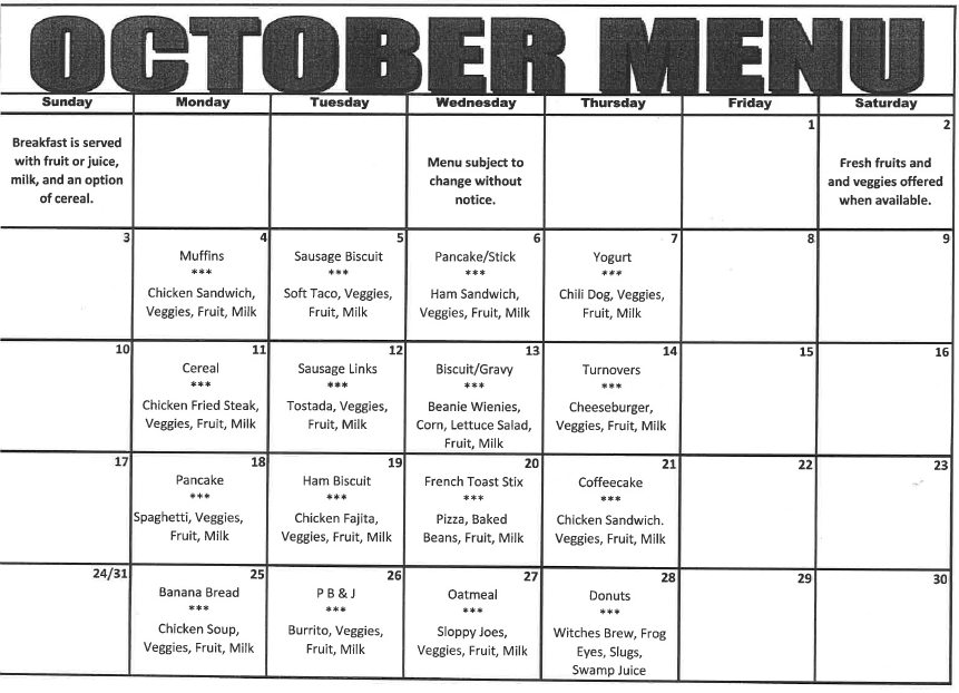 2021 October Breakfast and Lunch Menu