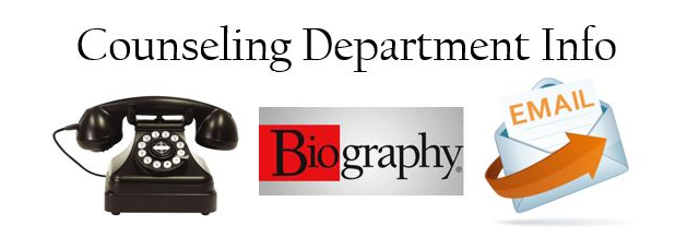 """on a white background: Black telephone, the word """"Biography"""", and an envelop with """"email"""" written on a document sliding out"""