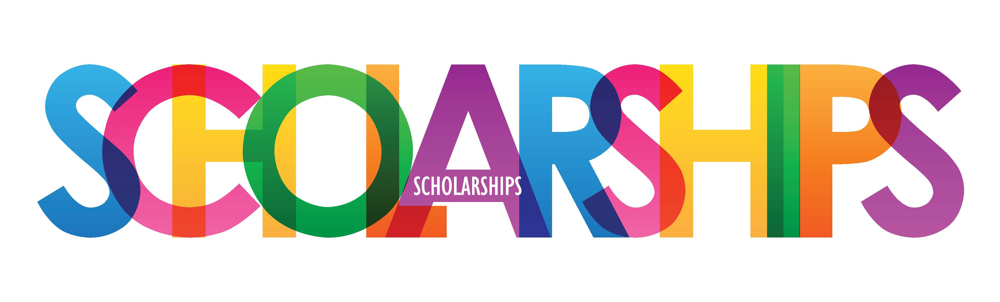 """colorful overlapping block letters reading """"Scholarships"""""""