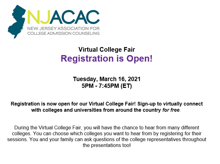 """Flyer of New Jersey Association for College Admission Counseling stating that """"Virtual College Fair registration is open. Tuesday, March 16, 2021 5:00PM-7:45PM (ET)"""