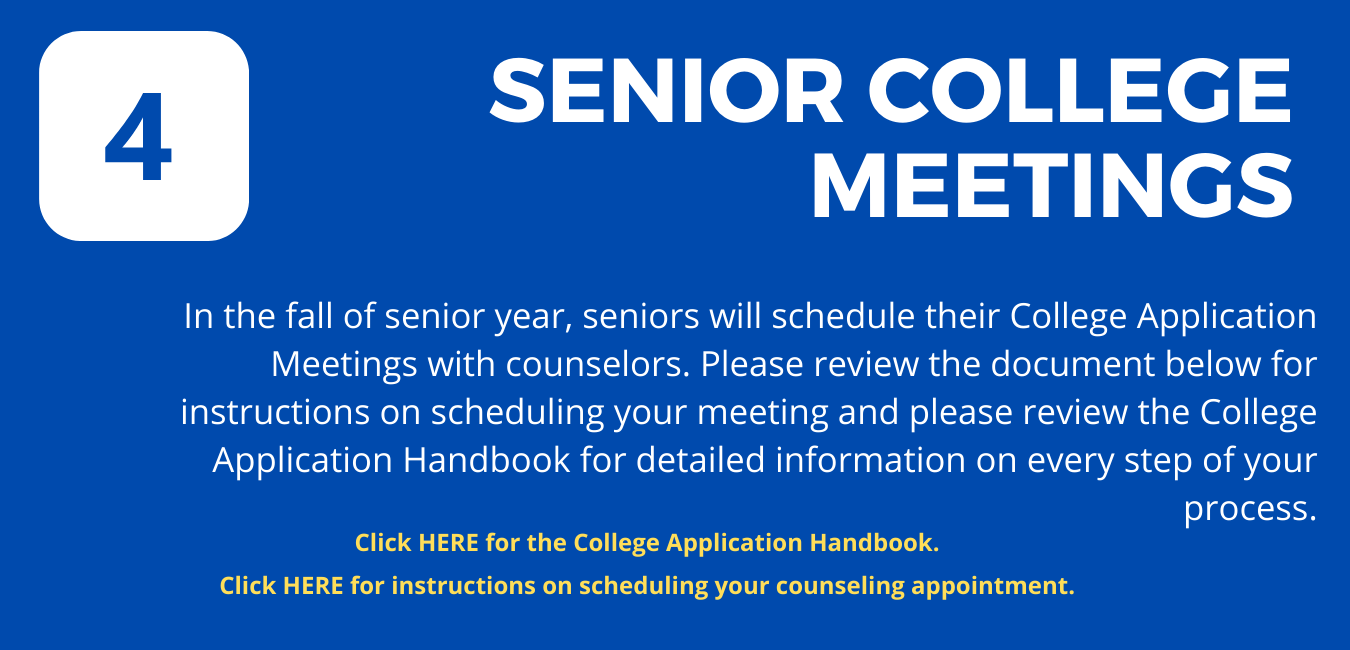 """Step 4 : on blue background, large white letters reading """"Senior College Meeting"""""""