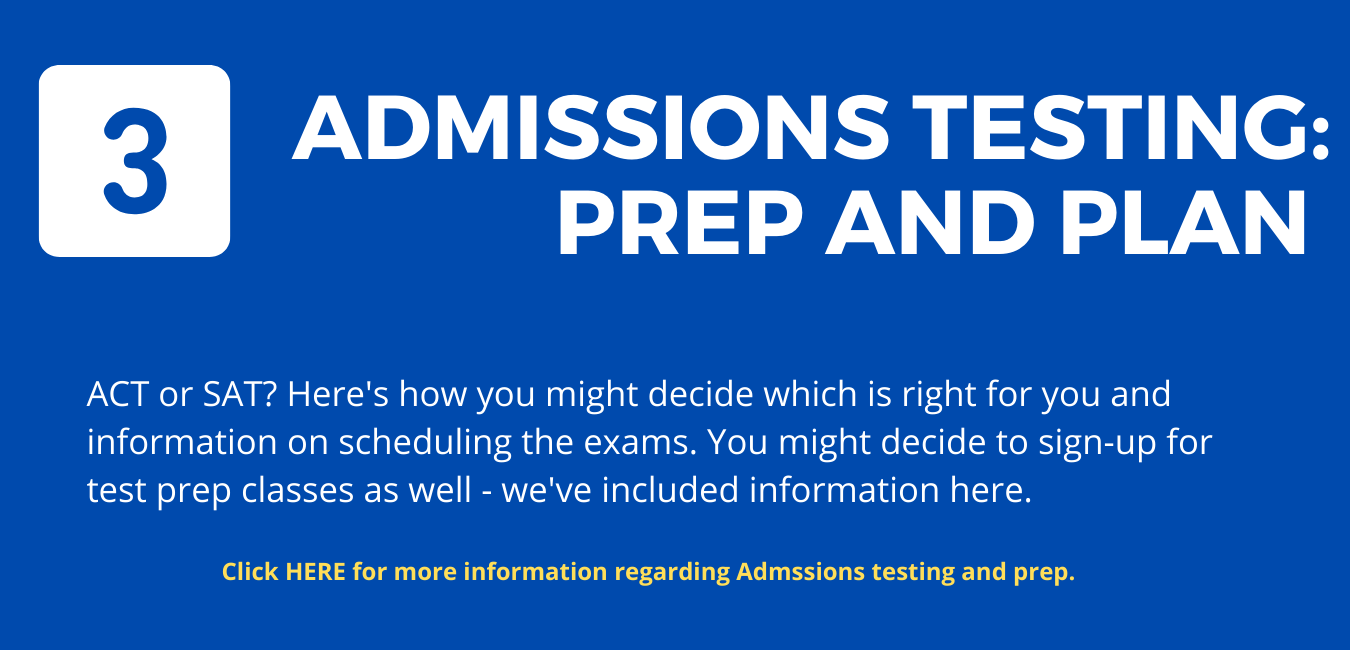 """Step 3: on blue background, large white letters reading """"Admissions Testing: Prep and Plan"""""""