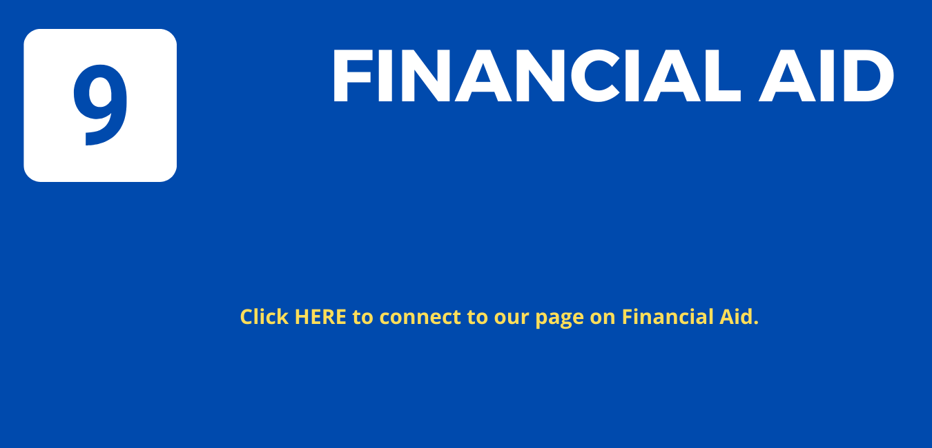"""Step 9: On blue background, large white letters reading """" Financial Aid'"""