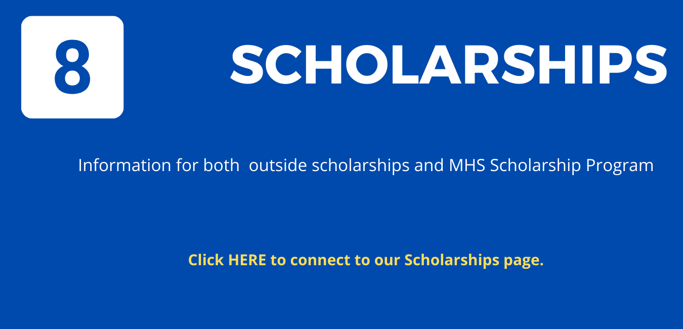 """Step 8: on blue background, with white letters reading """"Scholarships"""""""