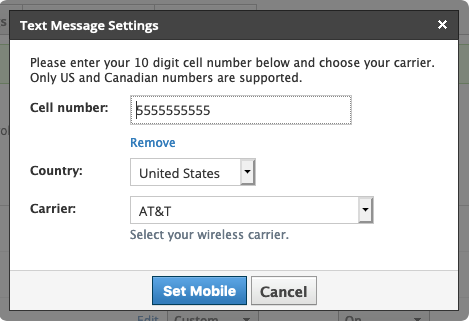 Text Message Settings