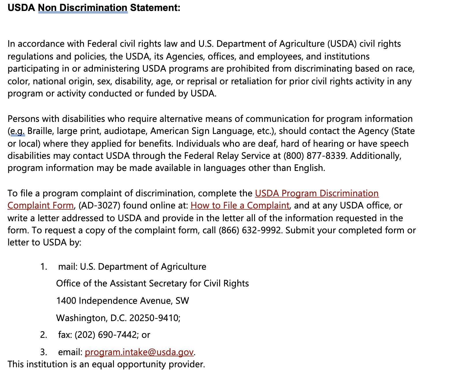 USDA Non Discrimination Statement