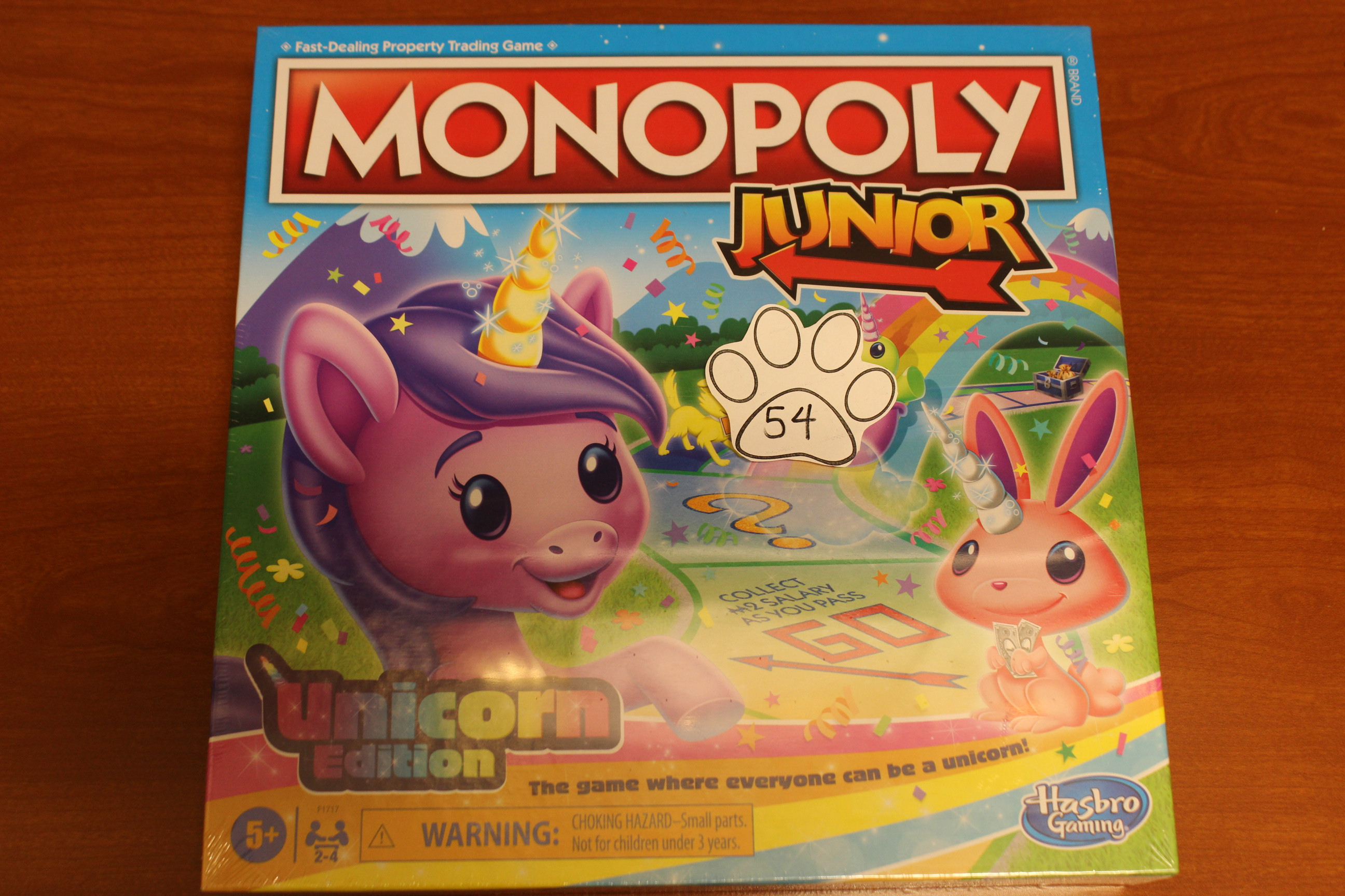 54 Paws Monopoly Junior Unicorn Edition