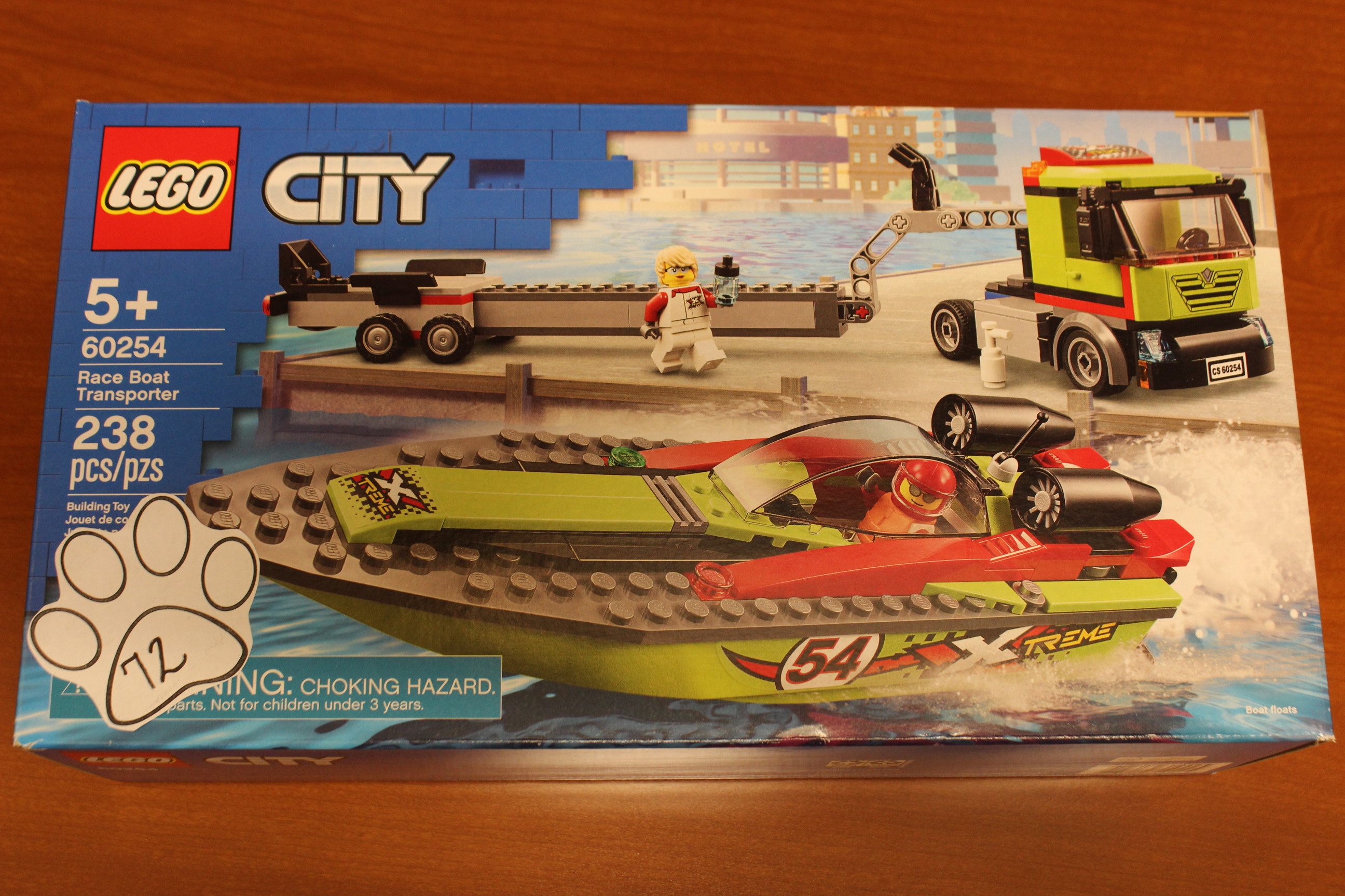 72 Paws Lego City Race Boat Transporter