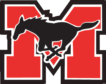 Mustang logo - a galloping horse in front of a large letter M