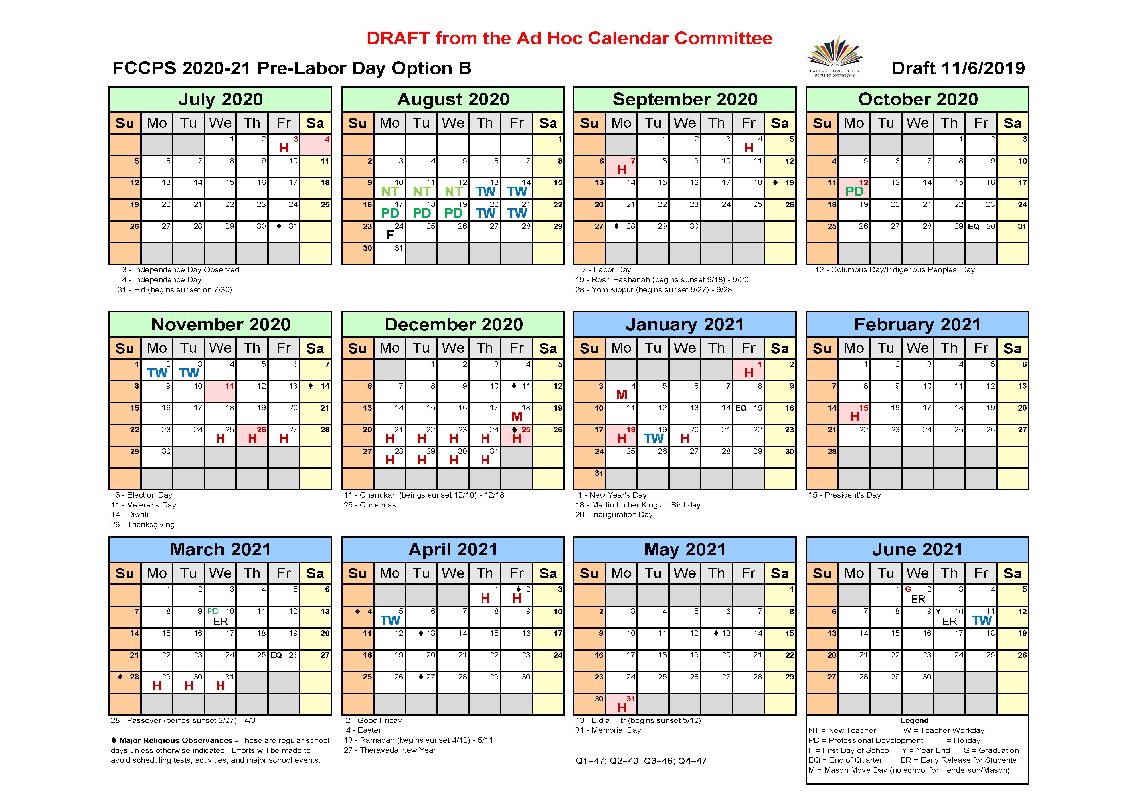 FCCPS 2020-21 Pre-Labor Day Option B