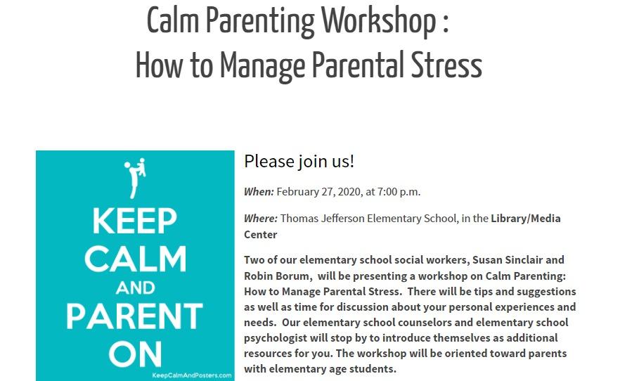 Calm Parenting Workshop: How to Manage Parental Stress