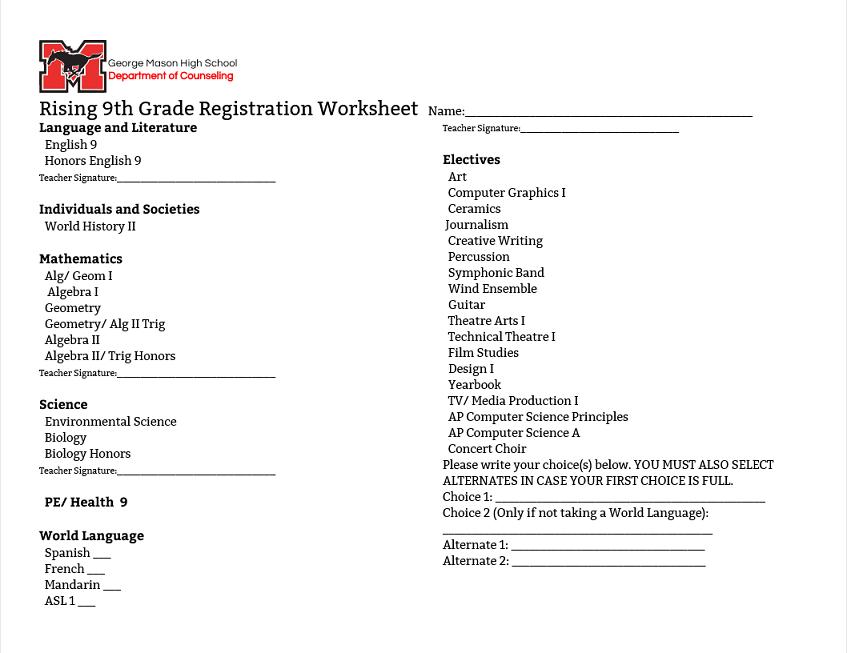 Rising 9th Grade Registration Worksheet