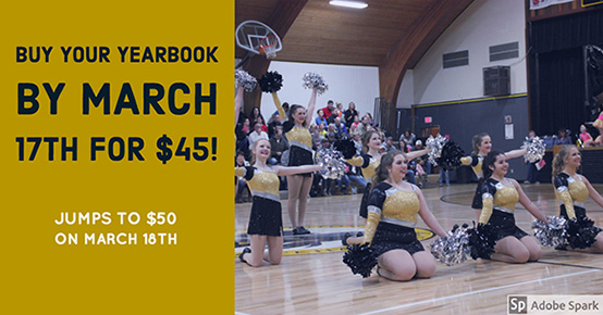 BUY YOUR YEARBOOK BY MARCH 17TH FOR $45!