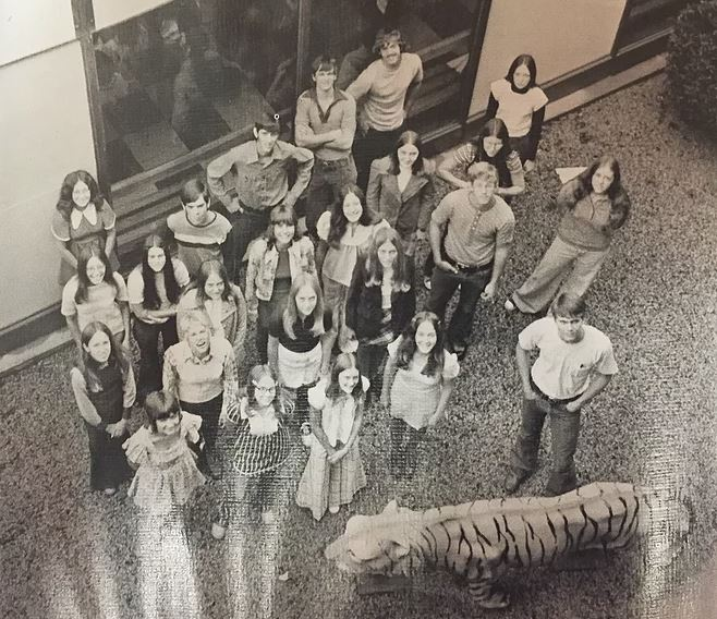 The tiger in the picture below used to be in the courtyard between the now middle school and the original 3-story Timber Township High School building.