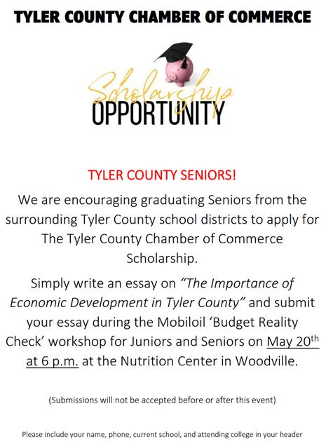 Tyler County Chamber of Commerce Scholarships